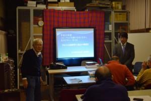 フォーラムについて説明する原さん(左)と尾形講師