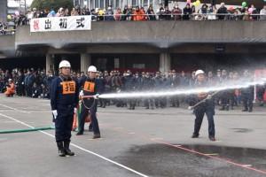 城自警消防隊による小型ポンプ操法